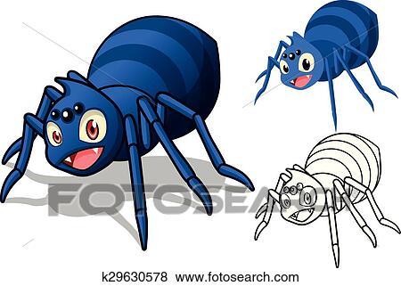 Clip art dettagliato ragno cartone animato carattere