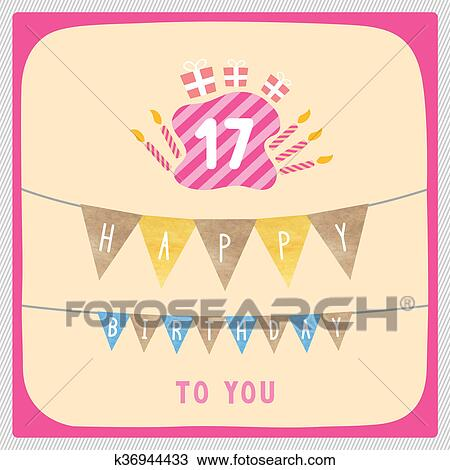 Happy 17th Birthday Card Drawing K36944433 Fotosearch