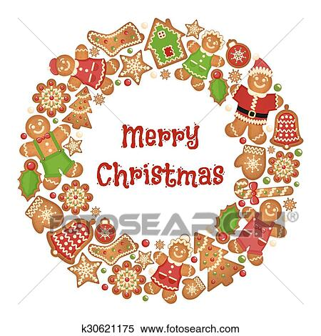Holiday Wreath Frame Of Christmas Cookies Clipart
