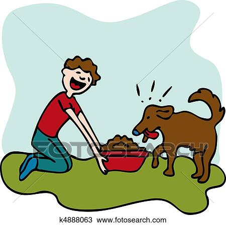 Homme Alimentation Aliments Chiens Clipart K4888063 Fotosearch