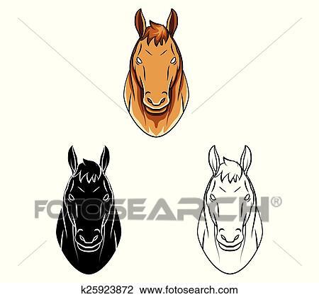 Clipart Ausmalbilder Pferdekopf Zeichen K25923872 Suche Clip