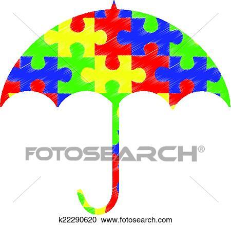 clipart of autism pieces umbrella k22290620 search clip art rh fotosearch com autism clipart images autism clip art graphics