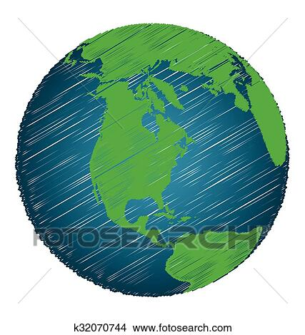 clipart of earth sketch hand draw focus north america continent