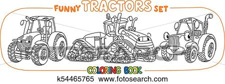 Funny small tractor set with eyes. Coloring book Clipart ...