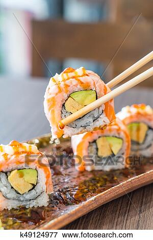 Grilled Salmon Sushi Roll Stock Photo K49124977 Fotosearch