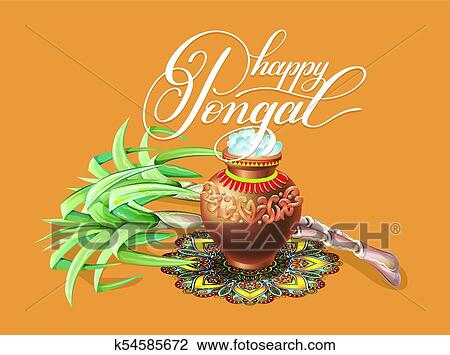 Clipart of happy pongal greeting card to south indian winter holiday clipart happy pongal greeting card to south indian winter holiday design fotosearch search m4hsunfo