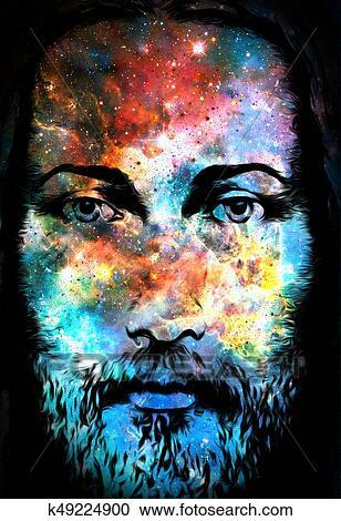 Jesus Cristo Quadro Com Radiante Coloridos Energia Luz Em