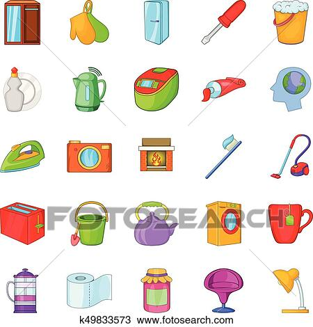 Kitchen Cleaning Icons Set Cartoon Style Clipart