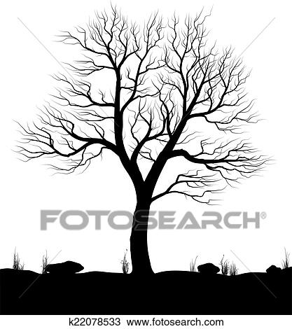 Clipart Of Landscape With Old Tree And Grass Over White Background