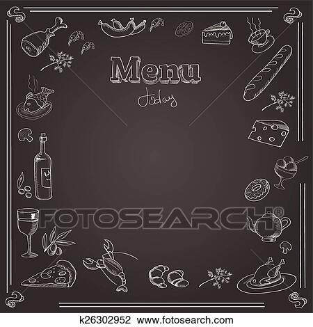 clipart of menu design with a chalk board texture k26302952 search