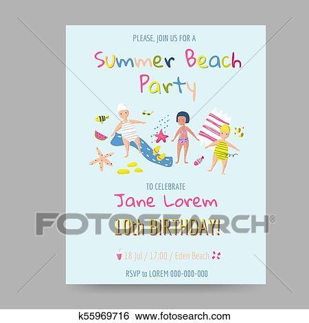 Clip Art Verano Playa Tarjeta Con Ninos Y Mar Creatures