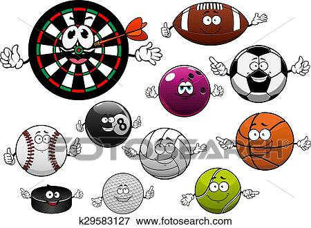 Cartoon Dartboard Puck And Sport Balls Clip Art K29583127 Fotosearch