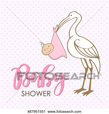 Cartoon Stork With Baby Design Template For Greeting Card