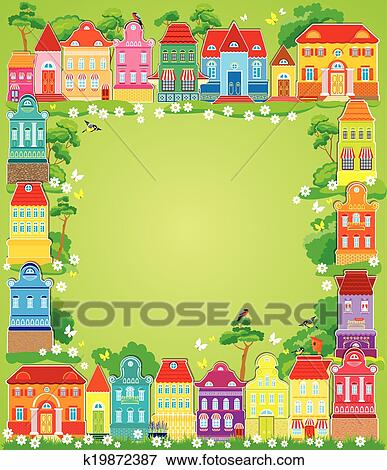 clip art frame with decorative colorful houses christmas and new year holidays card with