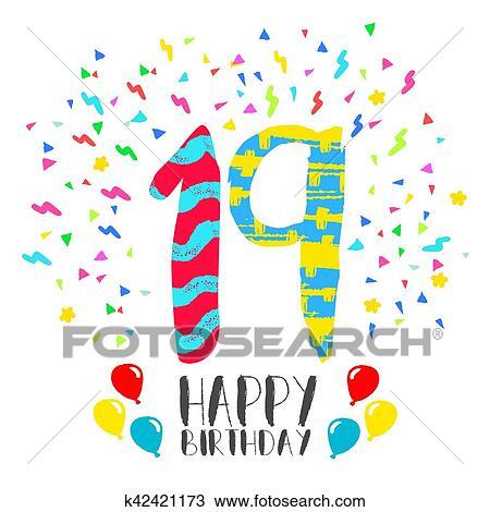 Clipart Gelukkige Verjaardag Voor 19 Jaar Feestje