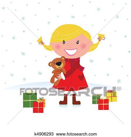 Weihnachten Clipart Bilder.Glückliches Weihnachten Mädchen Mit Geschenke Clipart