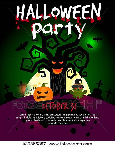 Halloween Poster Art.Halloween Poster With Scary Old Tree Clip Art