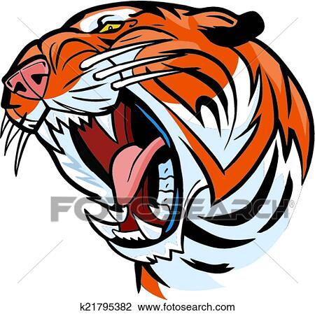 Clipart t te tigre rugir vecteur dessin anim k21795382 recherchez des clip arts des - Image dessin tigre ...