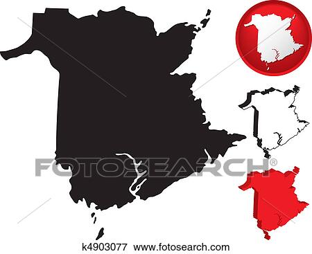 Clip Art of Detailed Map of New Brunswick Canada k4903077 Search