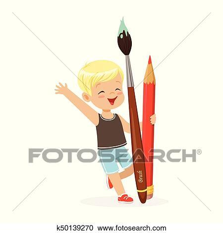 Mignon Blond Petit Garçon Tenue Géant Crayon Rouge Et Pinceau Dessin Animé Vecteur Illustration Clipart