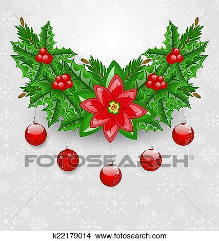 Clipart - navidad, adorno, con, pelotas, baya acebo, pino, y, flor ...