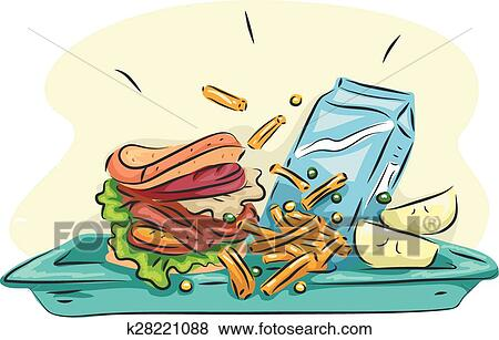 Clip Art Of School Lunch Tray K28221088