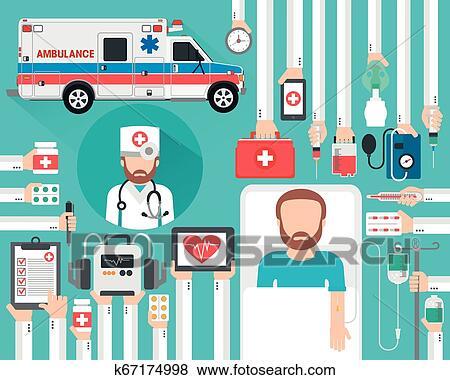 متطلب معالجة طبية سيارة إسعاف سهل بنت الفكر صمم ب الطبيب و المريض Clip Art K67174998 Fotosearch