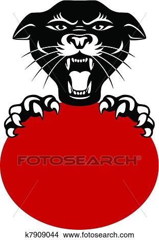 clipart of black panther head k7909044 search clip art rh fotosearch com free panther head clip art free panther head clip art