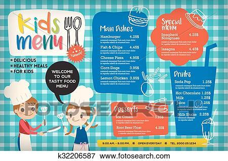 Clip Art Of Cute Colorful Kids Meal Menu Template K32206587 Search