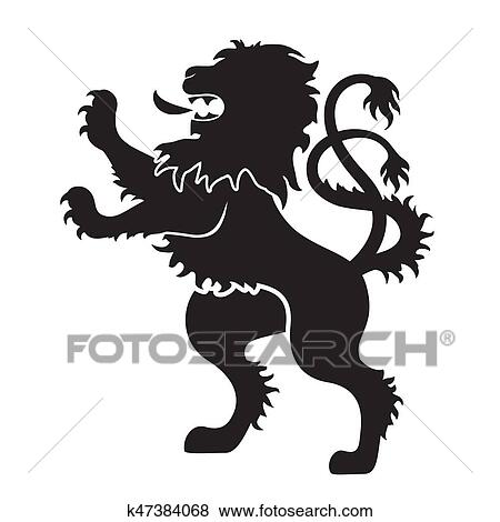 Heraldic Silhouettes For Signs And Symbols Lion In Black