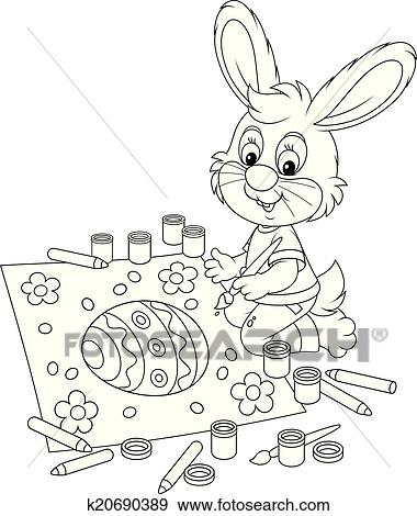 Clipart - peu, lapin, dessine, une, paques, carte k20690389 ...