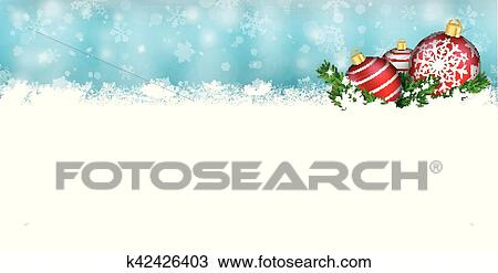 Christmas Header.Snow Banner Red Baubles Twigs Christmas Header Clipart