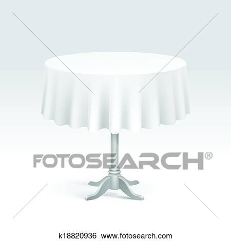 Round Table With Tablecloth.Vector Empty Round Table With Tablecloth Clip Art