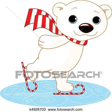 シロクマ 上に アイススケートをする クリップアート切り張り