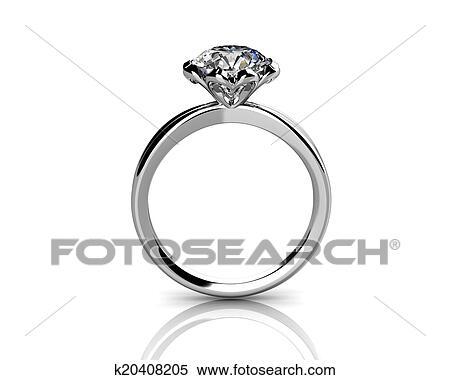 ダイヤモンド指輪 白 背景 で 高く 品質 イラスト K20408205
