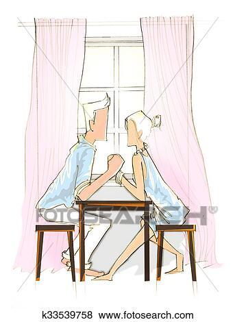 Amour Romantique Doux Couleur Banque Dillustrations