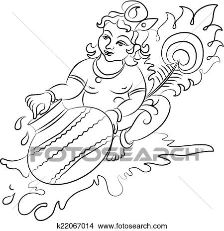 Clipart Of Calligraphic Lord Krishna K22067014 Search Clip Art