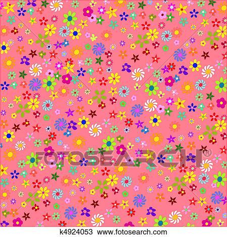 Cor De Rosa Flores Coloridas Fundo Desenho K4924053 Fotosearch