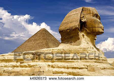 stock photo of egyptian sphinx and pyramid k4926573 search stock