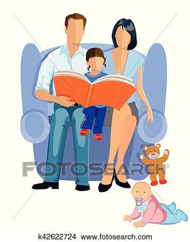 Familie Beim Lesen Eps Clipart