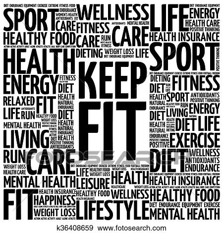 Clip Art Of Keep Fit Word Cloud K36408659