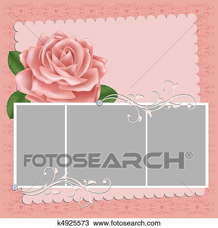 Clipart Leer Hochzeit Foto Rahmen Oder Postkarte K4925573