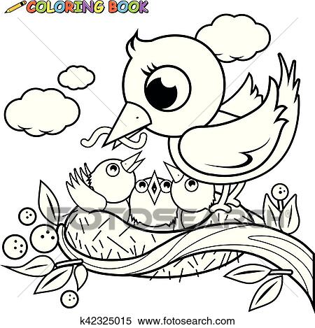 Mother bird feeding the young birds in the nest. Clipart