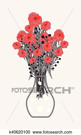 288 & Red Roses Bouquet in Flower Vase Clipart