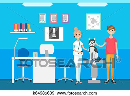 Veterinary Clinic Veterinarian And Pet On Checkup Clip Art