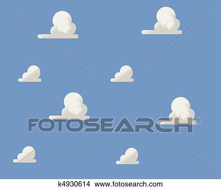 曇り 青い空 イラスト クリップアート切り張りイラスト絵画集