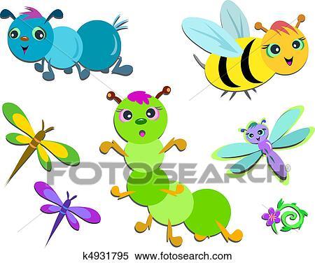 混合 の かわいい 昆虫 クリップアート切り張りイラスト絵画