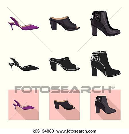 cf7bd7cc Aislado, objeto, de, calzado, y, mujer, signo., conjunto, de, calzado, y,  pie, vector, icono, para, stock. Clipart