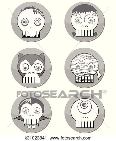 Black And White Halloween Monster Clipart K31023841 Fotosearch