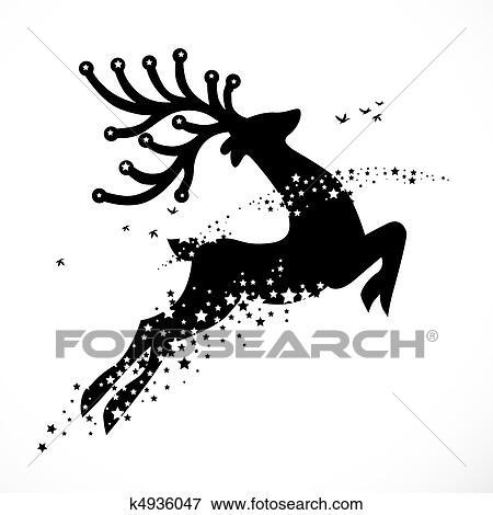 Christmas Reindeer Silhouette.Christmas Reindeer Decoration Stock Illustration